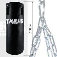 Worek bokserski Taurus 100, Boxsack Bizonyl schwarz, mit Drehwirbel und Kette, Aufdruck Taurus-Boxing, gefüll