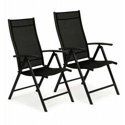 Krzesło ogrodowe, regulowane, 7 stopniowe oparcie, zestaw 2szt, czarne
