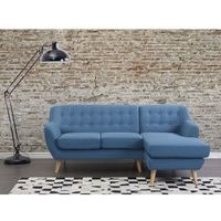 Sofa niebieska - kanapa - tapicerowana - naroznik - MOTALA (7081453542180)