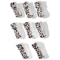 Osłonki skarpetki na nogi od krzeseł (8 szt.)  biało-brązowy leo marki Bonprix