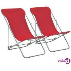 vidaXL Składane krzesła plażowe, 2 szt, stal, tkanina Oxford, czerwone (8718475703747)