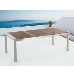 Stół ze stali nierdzewnej 220 cm - drewniany - trzyczęściowy - blat - GROSSETO (7081457730989)