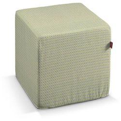 Dekoria  pufa kostka twarda, zielone i brązowe trójkąty na jasnym tle, 40x40x40 cm, rustica
