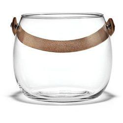 Szklana doniczka ze skórzanym uchwytem M - HolmeGaard