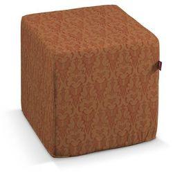 Dekoria  pufa kostka twarda, ceglano-złoty wytłaczany wzór, 40x40x40 cm, wyprzedaż do -30%