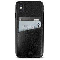Puro  shine pocket - etui iphone x z doklejaną kieszenią na karty (czarny) (8033830194856)