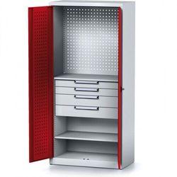 Szafa warsztatowa MECHANIC, 1950 x 920 x 500 mm, 2 półki, 4 szuflady, czerwone drzwi