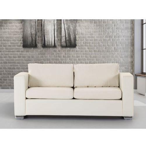 Skórzana sofa trzyosobowa bezowa - kanapa - HELSINKI - oferta [15b947701725b668]