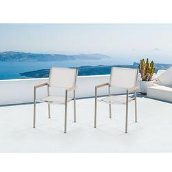 Zestaw do ogrodu 2 krzesła białe stal szlachetna GROSSETO