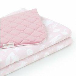 Kocyk dla niemowląt i dzieci velvet pikowany dwustronny 75x100 - Las pastelowy róż - różany