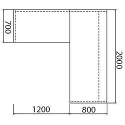 Biurko ASSIST z dostawką, lewe, wzór merano