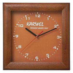 Zegar logo kwadrat drewniany marki Atrix