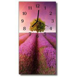 Zegar Szklany Pionowy Krajobrazy Pola lawendy purpurowy, kolor fioletowy