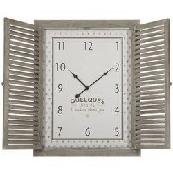 Zegar na ścianę z drewna z okiennicami, zegar do salonu, zegar do kuchni, zegar dekoracyjny, zegar ścienny retro, zegar wiszący (3560239690276)