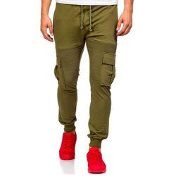Zielone spodnie dresowe bojówki męskie Denley 0485 - ZIELONY, kolor zielony