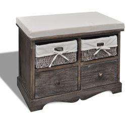 vidaXL Ławka drewniana z 4 szufladami oraz poduszką (brązowa) (8718475862352)