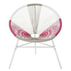 Beliani Zestaw 2 krzeseł rattanowych biało-beżowo-różowe ACAPULCO (4260624113654)