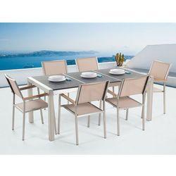 Beliani Meble ogrodowe - stół granitowy 180 cm czarny palony z 6 beżowymi krzesłami - grosseto