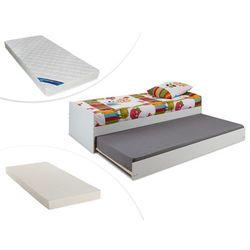 Łóżko wysuwane DONOVAN - 90 × 190 cm - Lakierowane na biały matowy + materac do dostawki + materac ZEUS 90 × 190