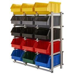 Regał warsztatowy/garażowy z pojemnikami 15 szt. - stojący, jednostronny marki Array