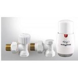 Vario term Zestaw zawór grzejnikowy termostatyczny biały kąt.