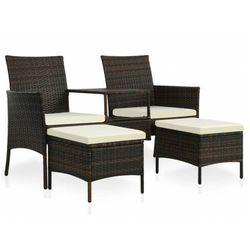 Brązowa sofa ogrodowa z polirattanu ze stolikiem – Terry