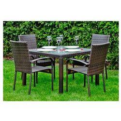 Bello giardino Zestaw mebli ogrodowych stół i krzesła z technorattanu edward ciemny brąz