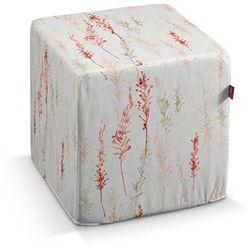 Dekoria Pufa kostka twarda, teakota z zielenia na białym tle, 40x40x40 cm, Acapulco, kolor biały