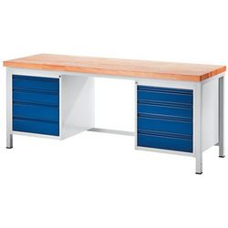 Stół warsztatowy, stabilny, 8 szuflad w rozmiarze l, głęb. 700 mm, szer. 2000 mm marki Rau