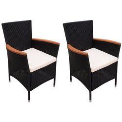 krzesło ogrodowe z polirattanu, 2 szt, czarne od producenta Vidaxl