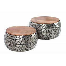 INVICTA stolik kawowy STONE MOSAIC - zestaw 2 sztuk srebrna akacja, drewno akacjowe, stop metalowo aluminiowy