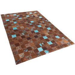 Dywan - brązowo-niebieski - skóra - patchwork - 80x150 cm - ALIAGA