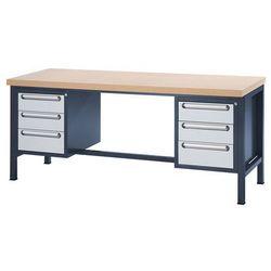 Stół warsztatowy z płytą MDF, 6 szuflad, wys. 4x150, 2x180 mm, wys. x szer. x gł