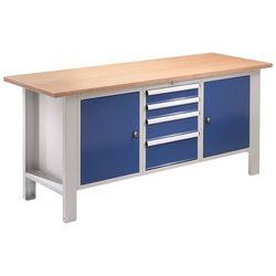 Stół warsztatowy, szer. blatu 1850 mm, blat z multipleksu, 4 szuflady, 2 drzwi. marki Quipo