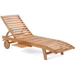 Leżak ogrodowy z drewna egzotycznego na kółkach Akacja Lux