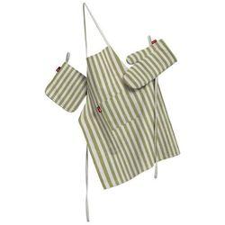 Dekoria Komplet kuchenny łapacz, rękawica oraz fartuch, oliwkowo-białe paski, kpl, Cardiff
