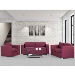 Zestaw wypoczynkowy burgundowy- Sofa - trzyosobowa - dwuosobowa - fotel - HELSINKI, Beliani