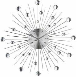 Okrągły zegar ścienny, dekoracja nowoczesnych pomieszczeń, designerski zegar, kolor srebrny, z kryształami,, kolor szary