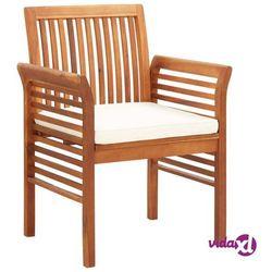 krzesło ogrodowe z poduszką, lite drewno akacjowe marki Vidaxl