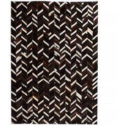 Dywan ze skóry, patchwork jodełkę, 80 x 150 cm, czarno-biały