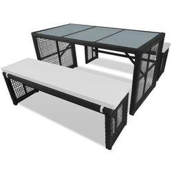 vidaXL Zestaw z czarnym stołem rattanowym 1 stół i 2 ławki