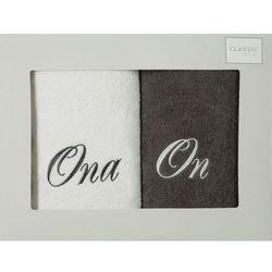 Komplet ręczników 2 szt. Eurofirany On-Ona biały/stalowy, E08-2/02