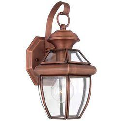 Ogrodowa lampa ścienna newbury qz/newbury2/s ac elstead elewacyjna oprawa latarenka vintage ip44 miedź przezroczysta marki Quoizel