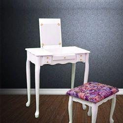 Biała toaletka kosmetyczna z lustrem + taboret - biały marki Wideshop