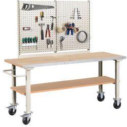 Mobilny stół roboczy SOLID 400, 2000x800 mm, dąb