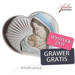 Srebrny obrazek madonna z dzieciątkiem w sercu 10,5 cm * 9 cm od producenta Valenti & co