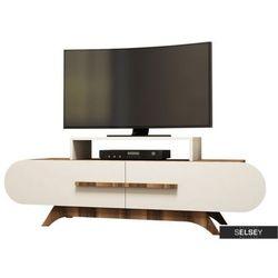 SELSEY Szafka RTV Ovalia 145 cm z kremowym frontem (5903025274072)