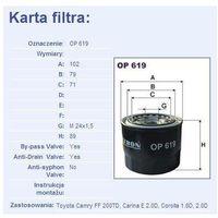 Filtr oleju op 619 od producenta Filtron