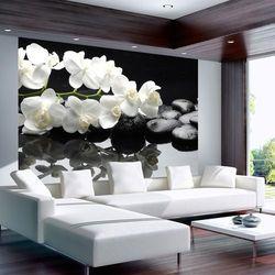 Fototapeta - SPA, kamienie i orchidea