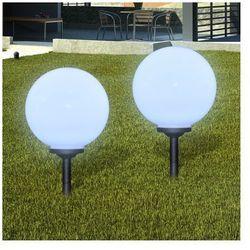 Ogrodowe lampy solarne LED 30cm, 2szt z uziemieniem Spike ze sklepu VidaXL
